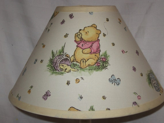 Winnie the pooh fabric nursery lamp shade baby gift aloadofball Gallery
