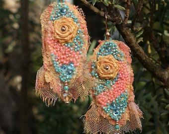 Antique lace earrings, lightweight earrings, Marie Antoinette earrings, bohemian earrings, Baroque earrings, shabby chic earrings earrings