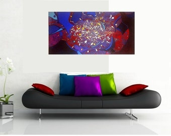"""Original acrylic abstract painting, """"Chaos"""", 120 x 60 cm"""