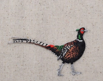 Ring-necked Pheasant - Bird - Facing Right - Iron on Applique - Embroidered Patch - 696979-A