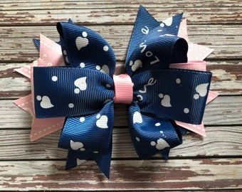 Pink and blue love and hearts hair clip barette