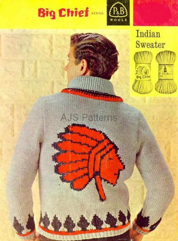 Pdf Knitting Pattern For Mans Red Indiannative American