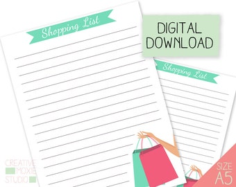 A5 Planner Insert refill - A5 Shopping List - A5 Insert - A5 Grocery List - A5 Download - shop list - to buy list - A5 Planner List - List