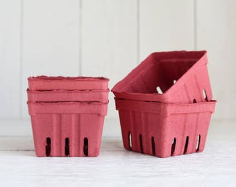 Berry Baskets - 5 Brick Red Paper Pulp Boxes