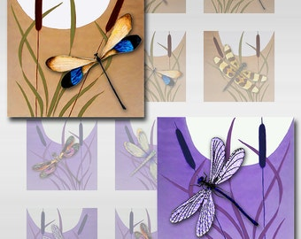 Dragonflies Moon Cattails Instant Download for Glass Resin Scrabble Tile Pendants Square JPEG Images 1 and 2 Inch (12-75)