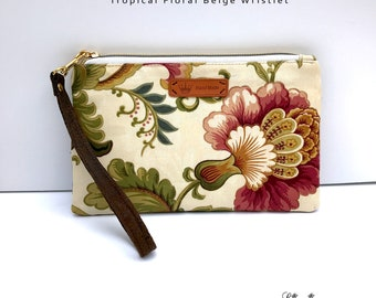 Tropical Floral Smartphone Wristlet for the iPhone 10, X, 8, 7, 6 Plus Samsung Galaxy S8 plus Card Holders Zip Closure