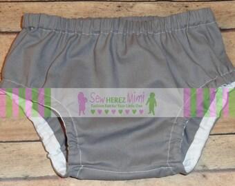 Grey Diaper Cover in Sizes Newborn, 0-3 mos, 3-6 mos, 12 mos, 18 mos, 24 mos