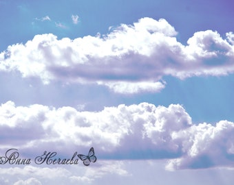 The photo of the blue sky with white clouds, a desktop background, a digital background, wall images, a digital photo, instant loading