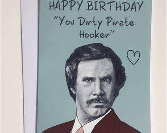 Ron Burgundy - Anchorman A5 Birthday Card