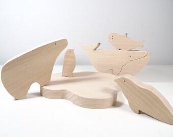 Jouet en bois animaux polaires  // Jouet pour enfant // Cadeaux de Noël // Baleine - pingouin - ours polaire - phoque