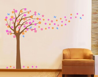 Cherry  tree wall decal, Nursery wall decals, Wall stickers for bedroom, Japanese cherry tree decal, Tree wall stickers, Wall vinyl decal