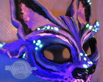 limited production Cheshire Cat mask, glow, UV reactive, costume mask, masquerade mask, Alice in Wonderland inspired,