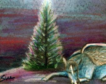 original art  aceo drawing pegasus sleeping under Christmas tree