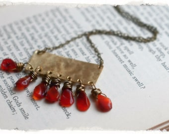 Carnelian Agate tear drops with hand made hammered brass pendant necklace... perfect for layering...