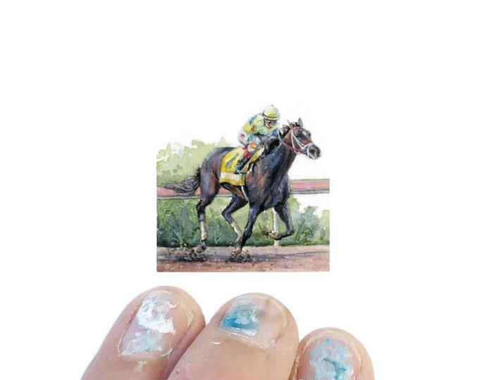 Print of miniature watercolor painting of Kentucky derby.  giclee print of derby horse watercolor painting