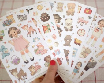 Translucent Deco Sticker Set - Paper Doll Mate - ver. 2 - 6 Sheets