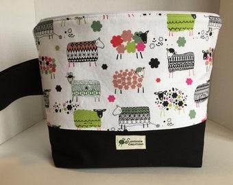 Knitting Project Bag, Wedge Bag, Zippered Bag, Large Shawl Size, Sheep