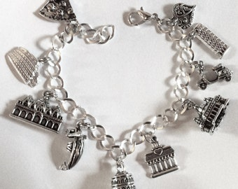 """Love Italy bracelet icons Rome Venice wanderlust silver tone charms choice of lengths from 18-21 cm / 7""""-8.25"""""""