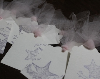 Set of 8 Ocean Starfish Pink Tulle Embellished Tags - Pink, Purple and Ivory