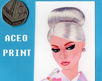 ACEO Print from an Original Painting Poppy Parker Japan Barbie  doll girl Artist Trading card. Free Post in UK