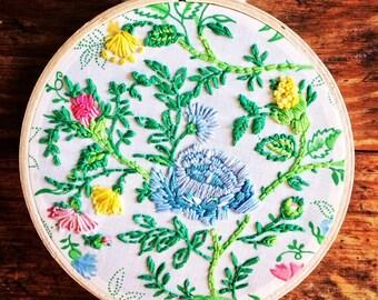 Vintage Flower Garden - hand embroidery hoop art