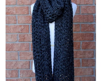 LONG WINTER SCARF, Charcoal grey scarf, chunky long scarf, many colors, knitted long scarf, lambs wool blend, 20% wool, soft, easy to wear