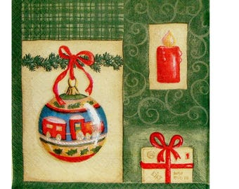 Set of 3 towels paper NOE052 balls and Christmas tree
