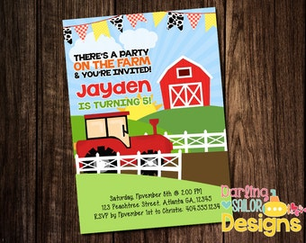 Farm Birthday Invitation, Digital File or Prints, 5x7, Farm Birthday, Party Invitation