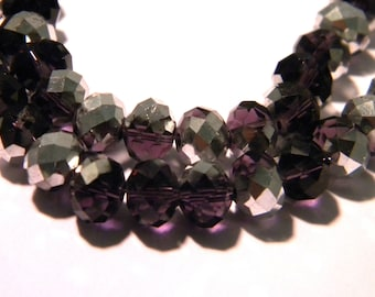 23 pearls glass electroplate faceted - abacus 8 x 6 - plum and silver sparkly G87 2