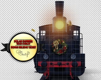 Polar Express Steam Train Digital Overlay - Locomotive Clipart - Train PNG - Transparent - Old Train - Railway Background - Digital Train