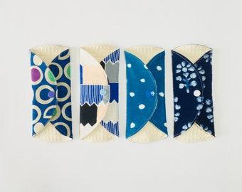 Organic Cloth Panty Liner, SET OF 4, Cloth Pads liner, Mama Cloth, Mama Pads, Reusable Cloth Pads, moon pads, blue navy