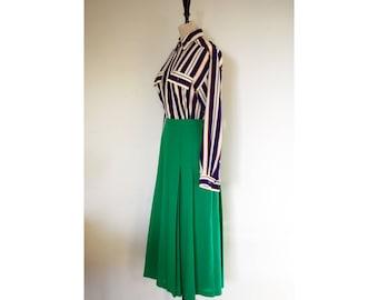 Bright Green Pleated 80s Midi Skirt, Size 10