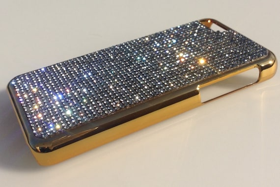 iPhone 5C Black Diamond Crystals on Gold-Bronze Electro Plated Plastic Case. Velvet/Silk Pouch Bag Included, Genuine Rangsee Crystal Cases.