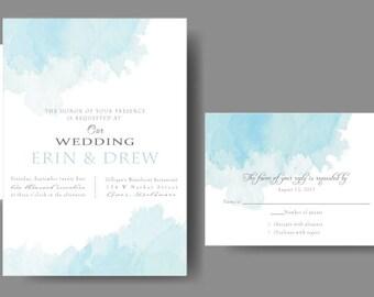 Watercolor Wedding Invitation //Blue Wedding Suite
