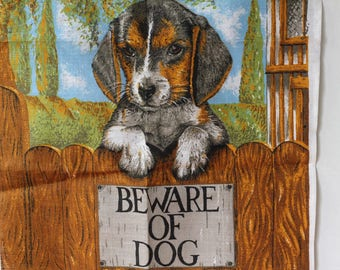 Vintage Unused Ulster Irish Linen Tea Towel Beware of Dog puppy Cottage Fence Dish Kitchen Greens Browns 70s