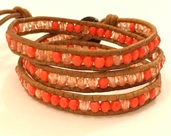 Coral Czech glass beaded bohemian leather triple wrap bracelet