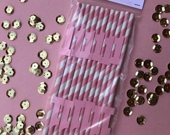 """Pink """"1"""" Straws- Set of 12"""