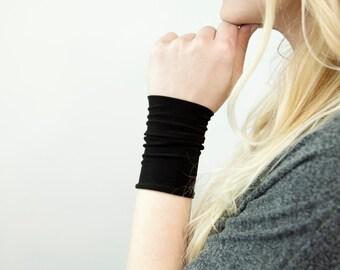 Black Wrist Cuff Bracelet, Black Arm Band, Black Bracelet, Stretch Cuffs, Wrist Tattoo Cover Up Wrist Covers Long Cuff, Wristband Scar Cover
