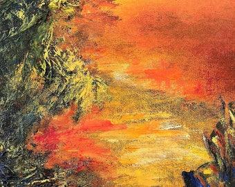 Twilight - point of view #2, original art, landscape, acrylic, semi-abstrait, 6 3/8 x 11 1/8 in. (16 x 28.5 cm), landscape, acrylic.