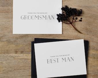 4 x Groomsman Thank You Card, Thank You Best Man Card, Page Boy Card, Thank You Groomsman Card, Usher Card, Best Man Wedding Card, K5