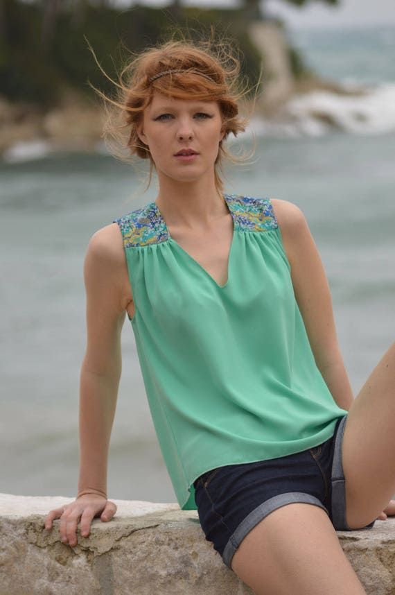 Tank top woman seafoam color. Japanese cherry flowers. French manufacturing. top was women. light green tank top was
