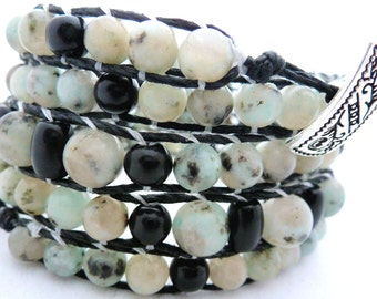 Handmade Five Wrap Hemp Wrap Bracelet with Assorted Sizes of Sesame Jasper and Black Onyx