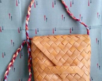 basket bag, Bohemian shoulder bag, Woven bag, Birch Bark bag