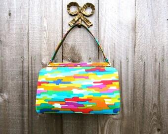 Vintage Purse Pop Art Bag Mad Men Style Handbag Top Handle Purse Hipster Purse 60s Kelly Style Bag Vegan