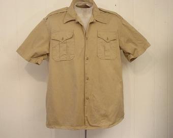Vintage shirt, military shirt, Army shirt, 1950s shirt, khaki shirt, US Army, short sleeve, vintage clothing, large