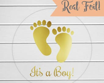 It's A Boy Stickers, Gold Foil or Color Foil Baby Shower Clear Stickers, Birth Announcements (#208-CF)