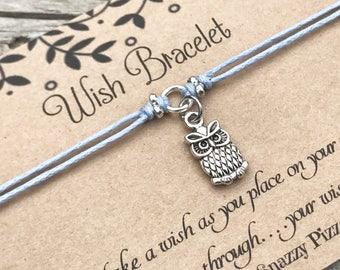 Owl Wish Bracelet, Make a Wish Bracelet, Owl Bracelet, Owl Lover Gift, Friendship Bracelet, Owl Jewelry, Gift for Girl, Gift for Her