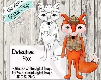 We Are 3 Digital Shop, Detective Fox, Sherlock, Pre-Colored, Printable, Digital Stamp