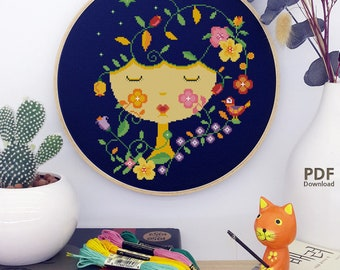 SHP12_FlowerGirl__cross stitch pattern PDF