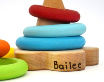 Personalized Wooden Ring Stacking Toy with Daisy Flower Base
